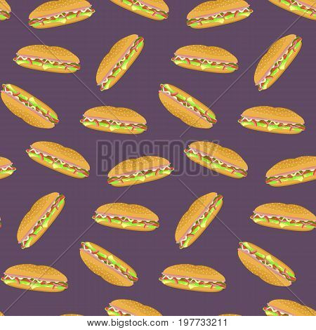 Seamless pattern with colorful sub sandwiches on violet background. Nice fast food texture for textile wallpaper cover wrapping paper banner bar and cafe menu design