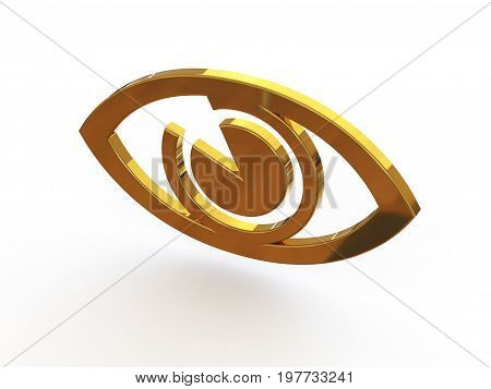 The sign is the eye. 3d illustration on isolated white background.