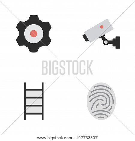 Elements Stairs, Bioskyner, Supervision And Other Synonyms Fingerprint, Ladder And Cogwheel.  Vector Illustration Set Of Simple Offense Icons.