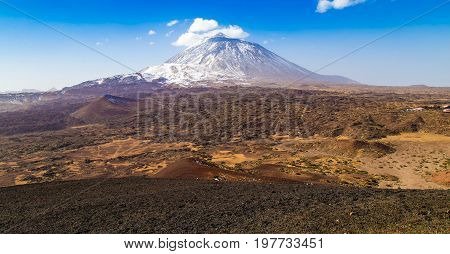 Mt Teide in Tenerife's Teide National Park during winter.