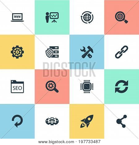 Elements Reload, Gear, Tools And Other Synonyms Protected, Secure And Zoom.  Vector Illustration Set Of Simple SEO Icons.