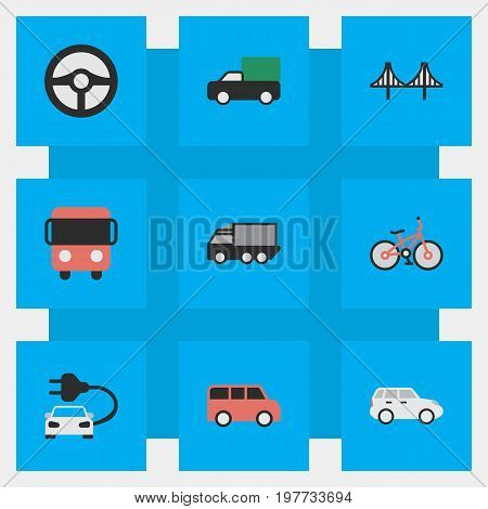 Elements Recycle, Charge, Lorry And Other Synonyms Shed, Bridgework And Green.  Vector Illustration Set Of Simple Traffic Icons.