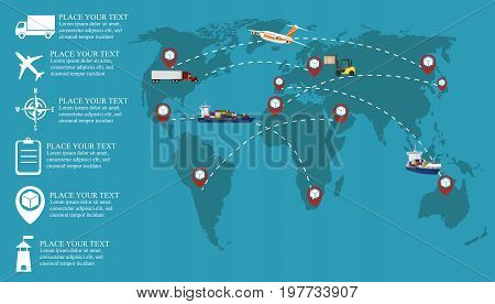 Global network of cargo distribution shipment and commercial transportation. Air cargo trucking, road transportation, maritime shipping vector illustration. International worldwide logistic company.