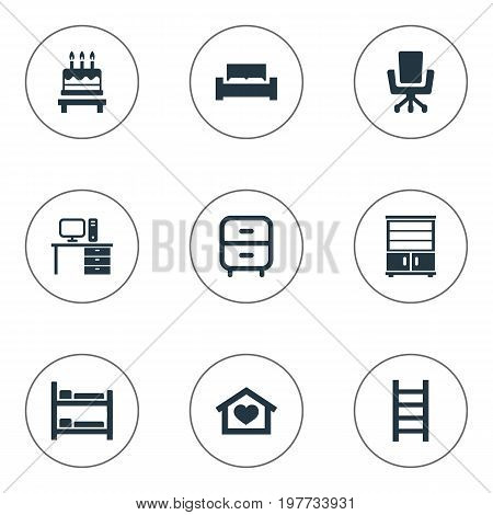 Elements Dessert, Mattress, Dwelling And Other Synonyms Bed, Cake And Stand.  Vector Illustration Set Of Simple Furnishings Icons.