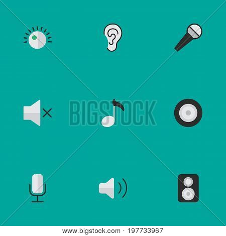 Elements Loudspeaker, Record, Loudness And Other Synonyms Loudspeaker, Music And Sign.  Vector Illustration Set Of Simple  Icons.