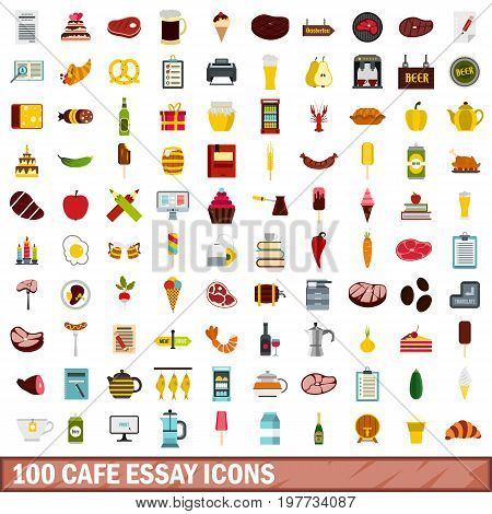 100 cafe essay icons set in flat style for any design vector illustration