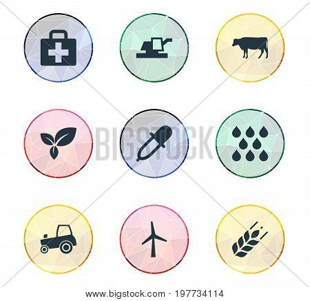 Elements Wheat, Turbine, Plant And Other Synonyms Agriculture, Livestock And Harvester.  Vector Illustration Set Of Simple Agriculture Icons.