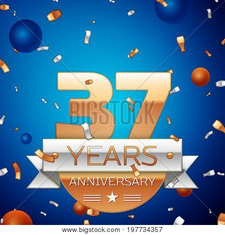 Realistic Thirty seven Years Anniversary Celebration Design. Golden numbers and silver ribbon, confetti on blue background. Colorful Vector template elements for your birthday party