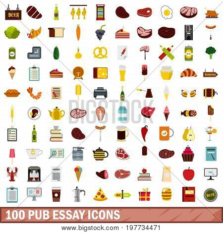100 pub essay icons set in flat style for any design vector illustration