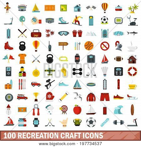 100 recreation craft icons set in flat style for any design vector illustration