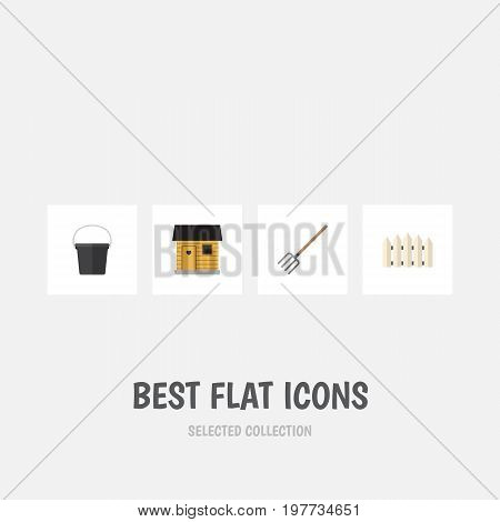 Flat Icon Garden Set Of Stabling, Wooden Barrier, Pail And Other Vector Objects