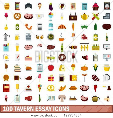 100 tavern essay icons set in flat style for any design vector illustration