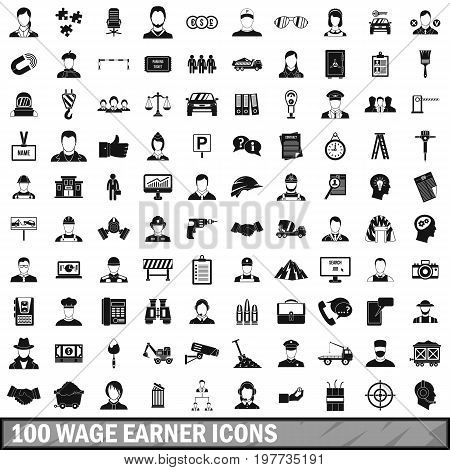 100 wage earner icons set in simple style for any design vector illustration