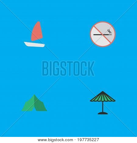 Elements Camping, Boat, Parasol And Other Synonyms Tent, Umbrella And Forbidden.  Vector Illustration Set Of Simple Relax Icons.