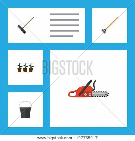 Flat Icon Garden Set Of Pail, Hacksaw, Flowerpot And Other Vector Objects