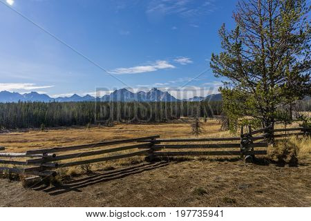 Log Fence Before Pine Forest Sawtooth Mountains and Blue Sky on Scenic Byway in Idaho