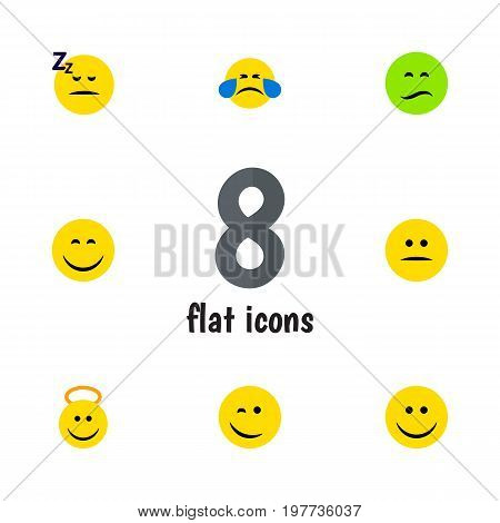 Flat Icon Emoji Set Of Angel, Asleep, Frown And Other Vector Objects