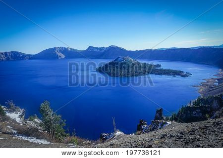 Looking at the vast expanse of the Crater Lake caldera in Oregon