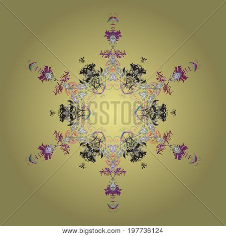 Snowflake colorful pattern. Snowflakes pattern. Flat design with abstract snowflakes isolated on colors background. Vector illustration. Vector snowflakes background.