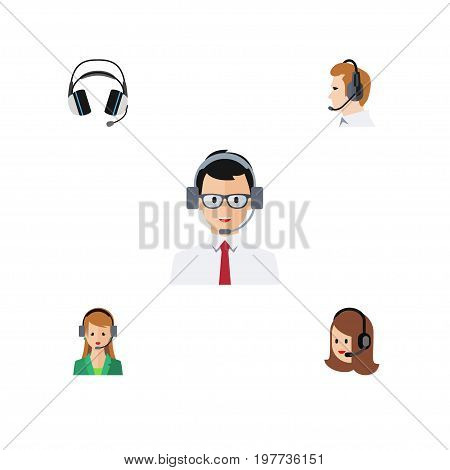 Flat Icon Telemarketing Set Of Secretary, Help, Service And Other Vector Objects