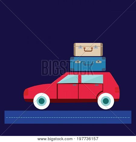 Travel car illustration car with luggage. Summer holiday concept modern flat design with car and luggage.