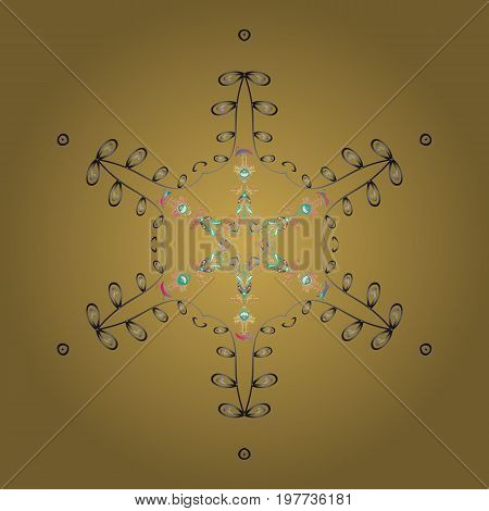Snowflake simple. Abstract sketch wrapping decoration. Symbol of winter Merry Christmas holiday Happy New Year celebration Vector illustration. Snow on colorful background.