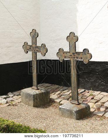 Nykøbing. June-15-2017. Two meta crosses't the Karleby Kirke in Nykøbing on the island Falster.Denmark