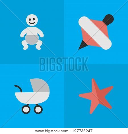 Elements Toy, Yule, Child And Other Synonyms Yule, Child And Toy.  Vector Illustration Set Of Simple Child Icons.