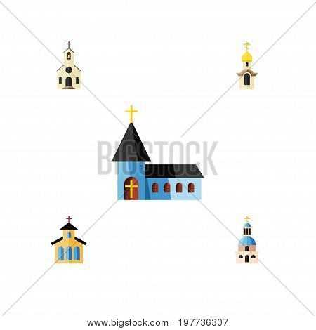 Flat Icon Christian Set Of Church, Structure, Building And Other Vector Objects