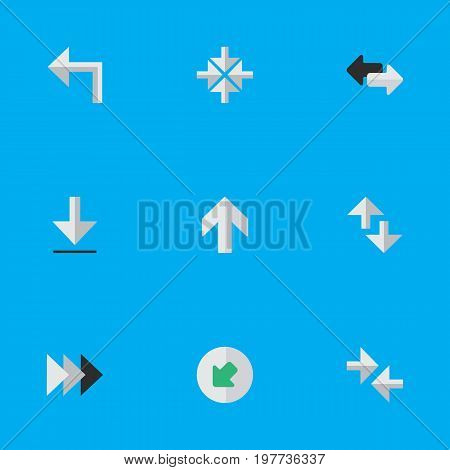 Elements Northwestward, Import, Onward And Other Synonyms Turn, Ahead And Inside.  Vector Illustration Set Of Simple Cursor Icons.