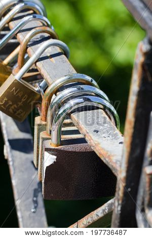 Bunch of locks. Metal lock. Security, safe home protection