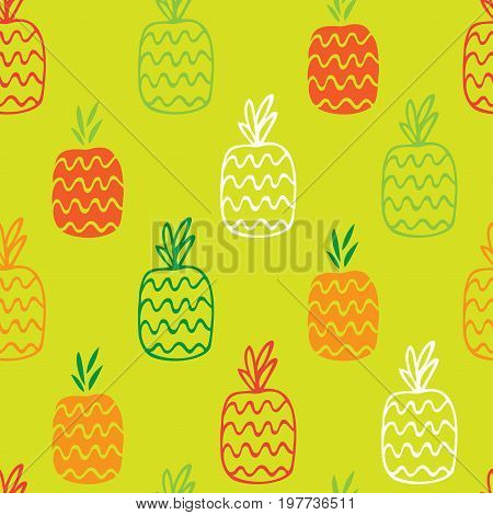 The pineapples are hand-drawn on a green background create a continuous pattern. Can be used for textile printing, packaging, Wallpaper.