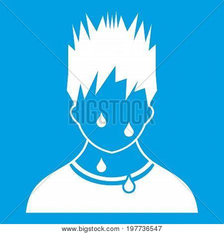 Sweaty man icon white isolated on blue background vector illustration