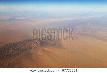 Martian landscape. Red Desert Gobi. view from above