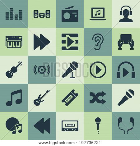Elements Laptop, Hear, Tape And Other Synonyms Cassette, Arrow And Loudspeaker.  Vector Illustration Set Of Simple Melody Icons.