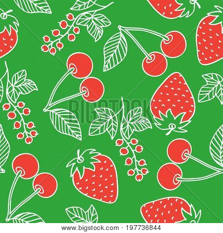 Juicy berries seamless pattern. White outline and red berries drawing in cartoon style on a red background. Cherry, strawberry and currant drawn by hand. Vector image.