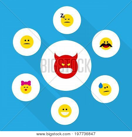 Flat Icon Face Set Of Pouting, Grin, Displeased And Other Vector Objects