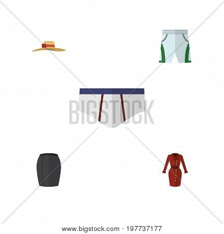 Flat Icon Dress Set Of Elegant Headgear, Clothes, Underclothes And Other Vector Objects