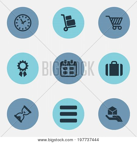 Elements Hand , Hourglass, Calendar Synonyms Cart, Message And Bag.  Vector Illustration Set Of Simple Surrender Icons.