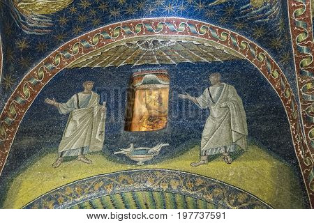 RAVENNA - JULY 16: Magnificent 1600 year old mosaics listed by UNESCO in Galla Placida's mausoleum on July 16, 2017 in Ravenna Italy
