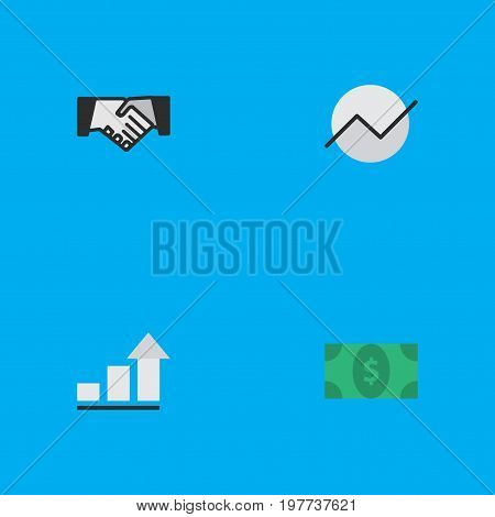 Elements Greenback, Agreement, Diagram And Other Synonyms Agreement, Increase And Diagram.  Vector Illustration Set Of Simple Job Icons.