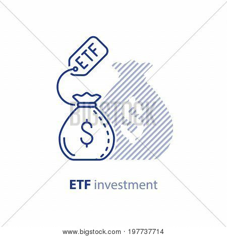 ETF investment concept, bigger return on investing money, finance control, pension savings planning, superannuation, vector line icon