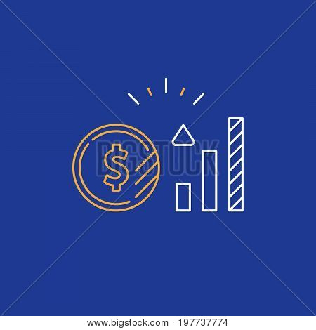 Financial investment and management concept, finance planning logo, business start up money, pension plan, retire savings, superannuation, vector line icon