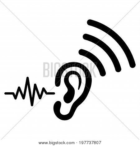 Listen And Transmit vector icon. Flat black symbol. Pictogram is isolated on a white background. Designed for web and software interfaces.