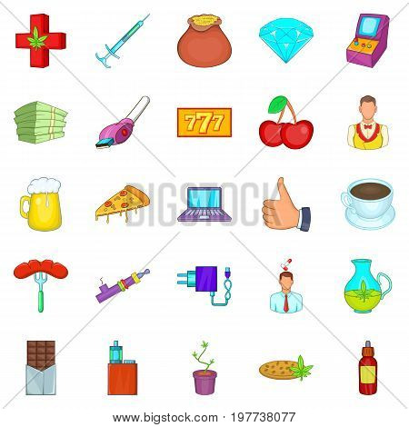 Game addiction icons set. Cartoon set of 25 game addiction vector icons for web isolated on white background