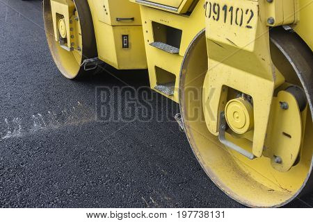 Close Of Road Roller Compacting Asphalt
