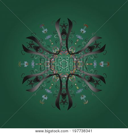 Snowflakes pattern. Snowflakes background. Snowflake ornamental pattern. Flat design with abstract snowflakes isolated on colorful background. Vector illustration.