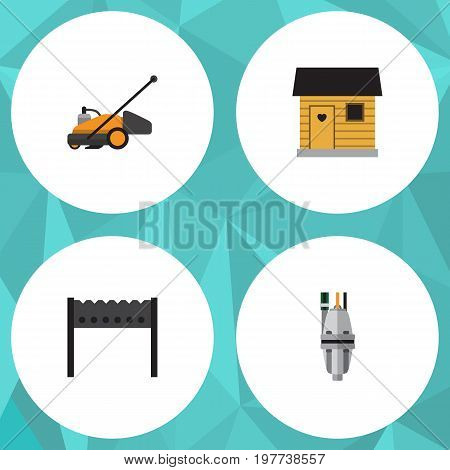 Flat Icon Dacha Set Of Pump, Lawn Mower, Stabling And Other Vector Objects