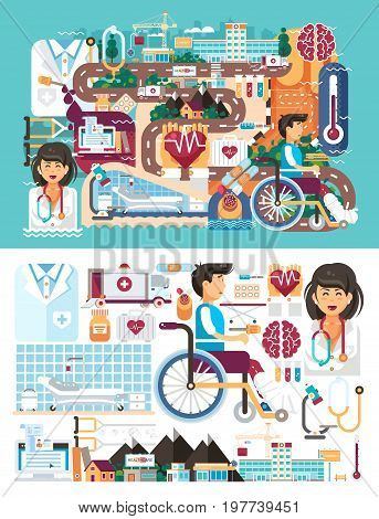 Stock vector big set design illustration medicine health care of patient medical insurance treatment illness and recovery doctor nurse ambulance on road near hospital pharmacy polyclinic in flat style.