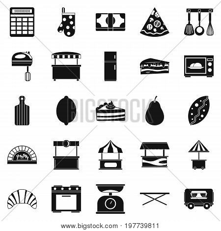 Shop with buns icons set. Simple set of 25 shop with buns icons for web isolated on white background